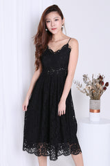 (RESTOCKED) *TOPAZ* (PREMIUM) HATHAWAY LACE SWEETHEART DRESS IN BLACK