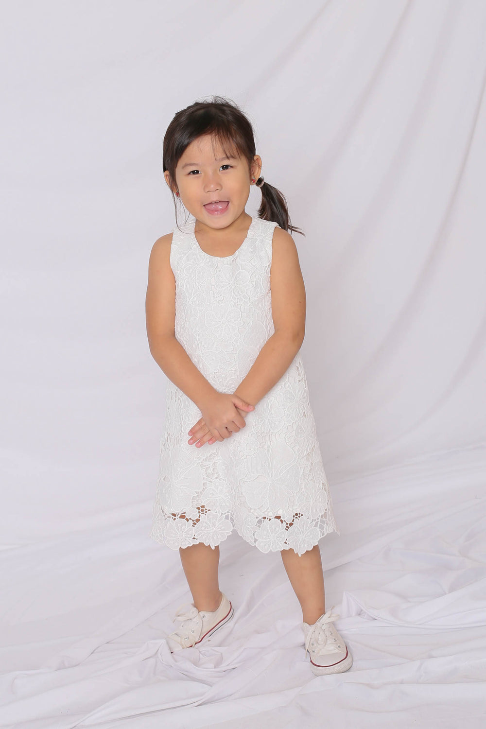 *LITTLE TOPAZETTE* NOVA CROCHET DRESS IN WHITE