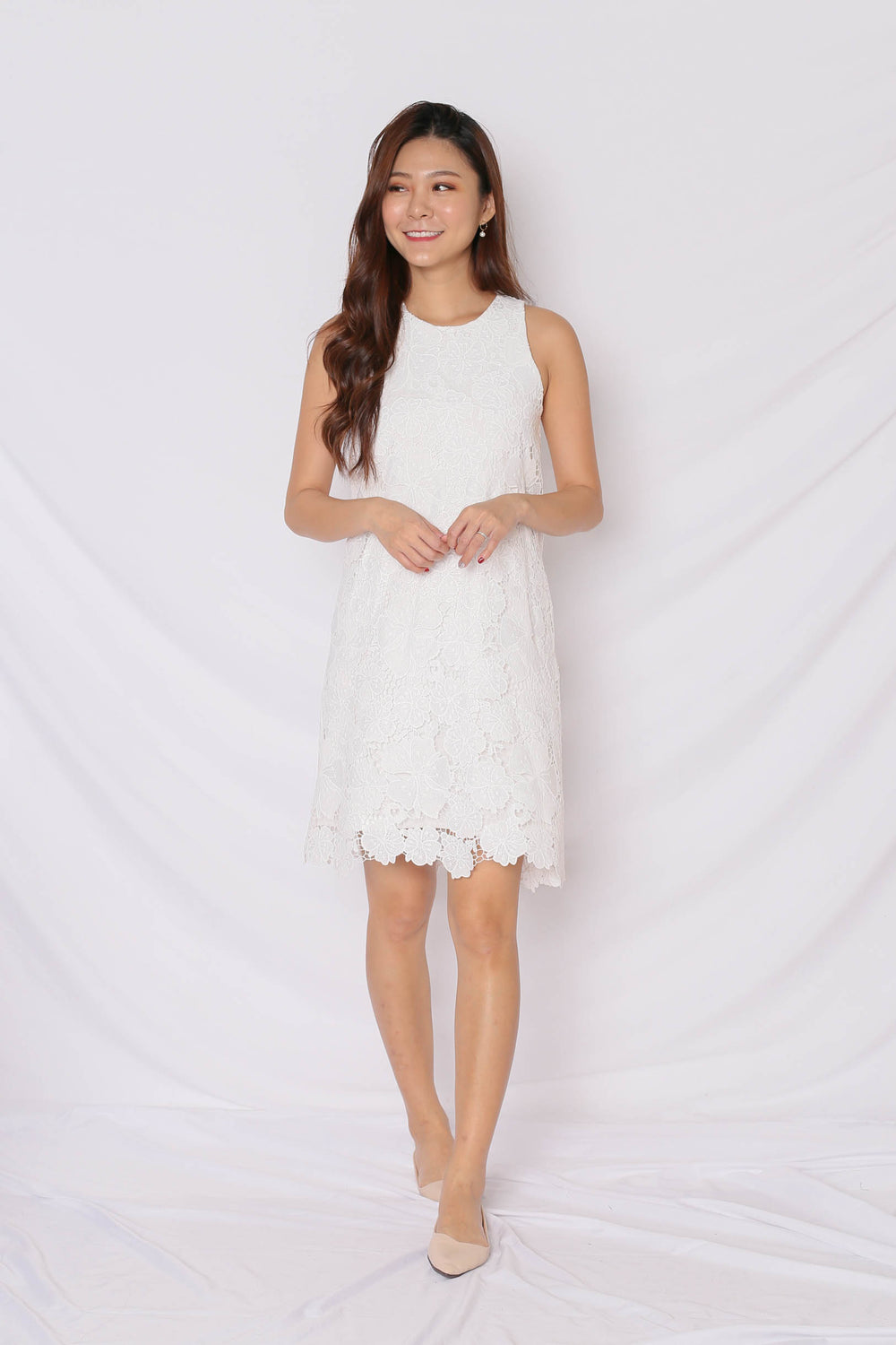 (PREMIUM) NOVA CROCHET DRESS IN WHITE