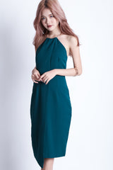 *TOPAZ* (PREMIUM) TINSEL RING MIDI DRESS IN TEAL - TOPAZETTE