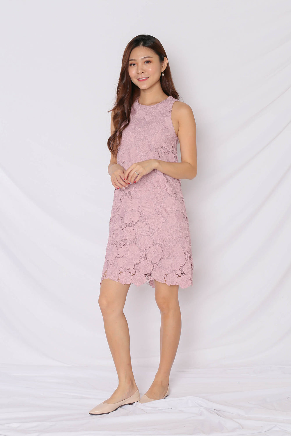 (PREMIUM) NOVA CROCHET DRESS IN DUSTY PINK