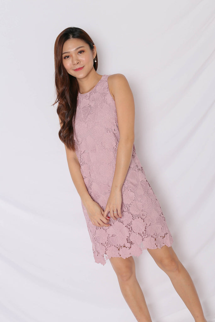 (PREMIUM) NOVA CROCHET DRESS IN DUSTY PINK - TOPAZETTE