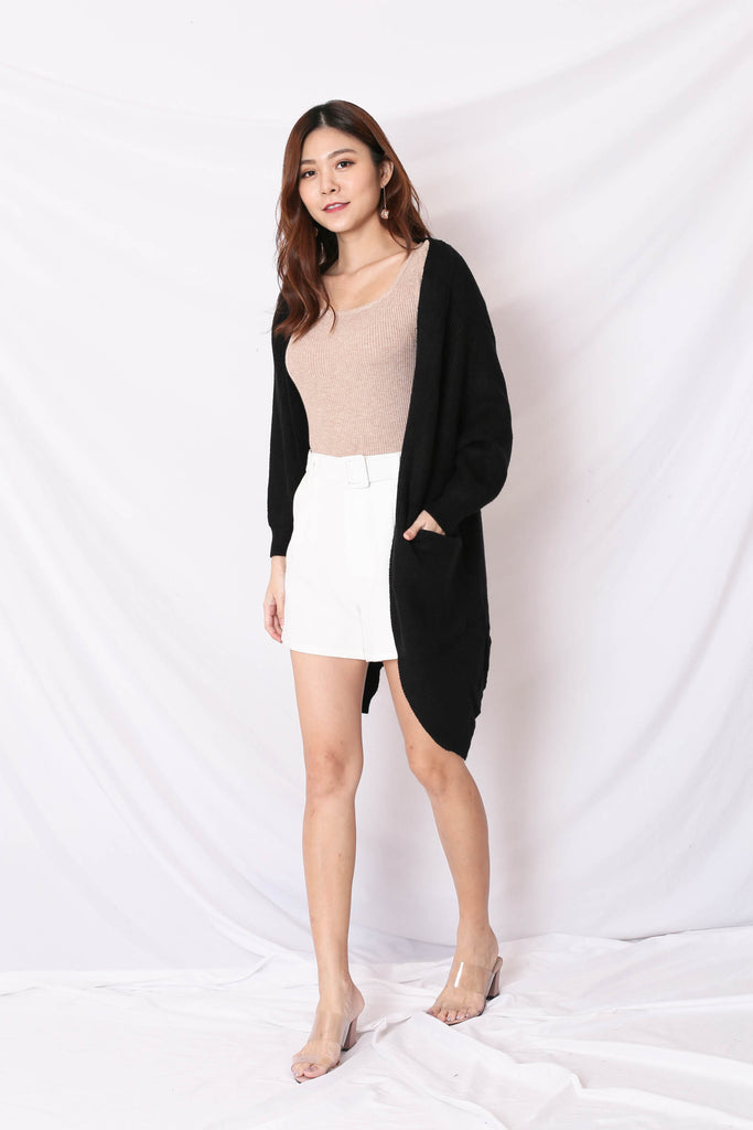 BEA COSY SOFT KNIT CARDIGAN IN BLACK