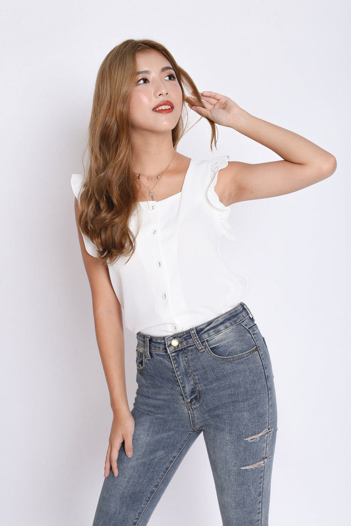 ALEXIS RUFFLES TOP IN WHITE