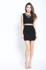 (RESTOCKED 3) XANDRA DRESS IN BLACK - TOPAZETTE