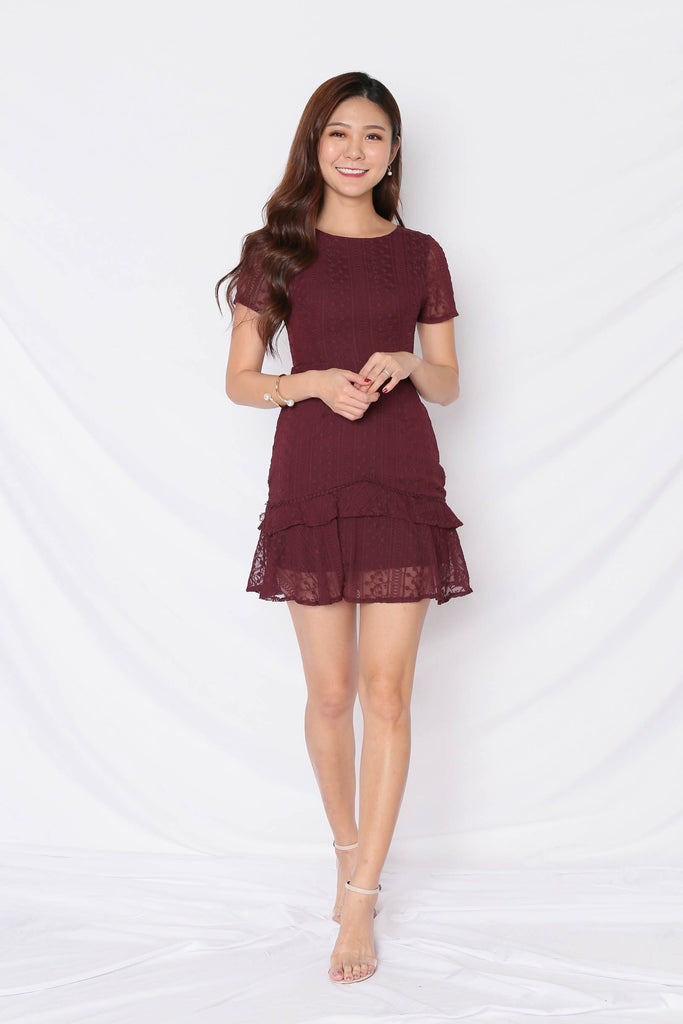 *TPZ* (PREMIUM) HARMONIE LACE ORGANZA DRESS IN PLUM - TOPAZETTE