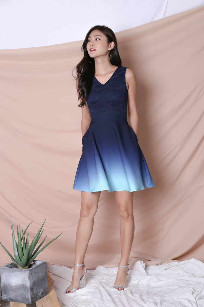 *TPZ* (PREMIUM) ATHENA LACE OMBRE SKATER DRESS (NAVY/ MINT) - TOPAZETTE