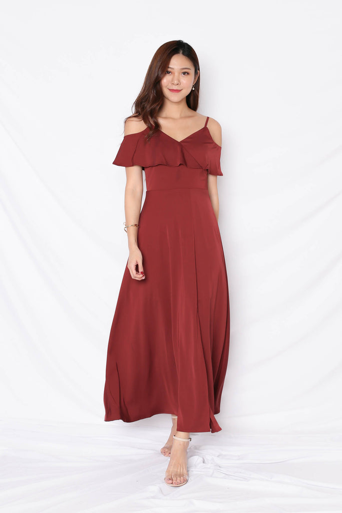 *TPZ* (PREMIUM) MAIZIE MAXI DRESS IN BURGUNDY - TOPAZETTE
