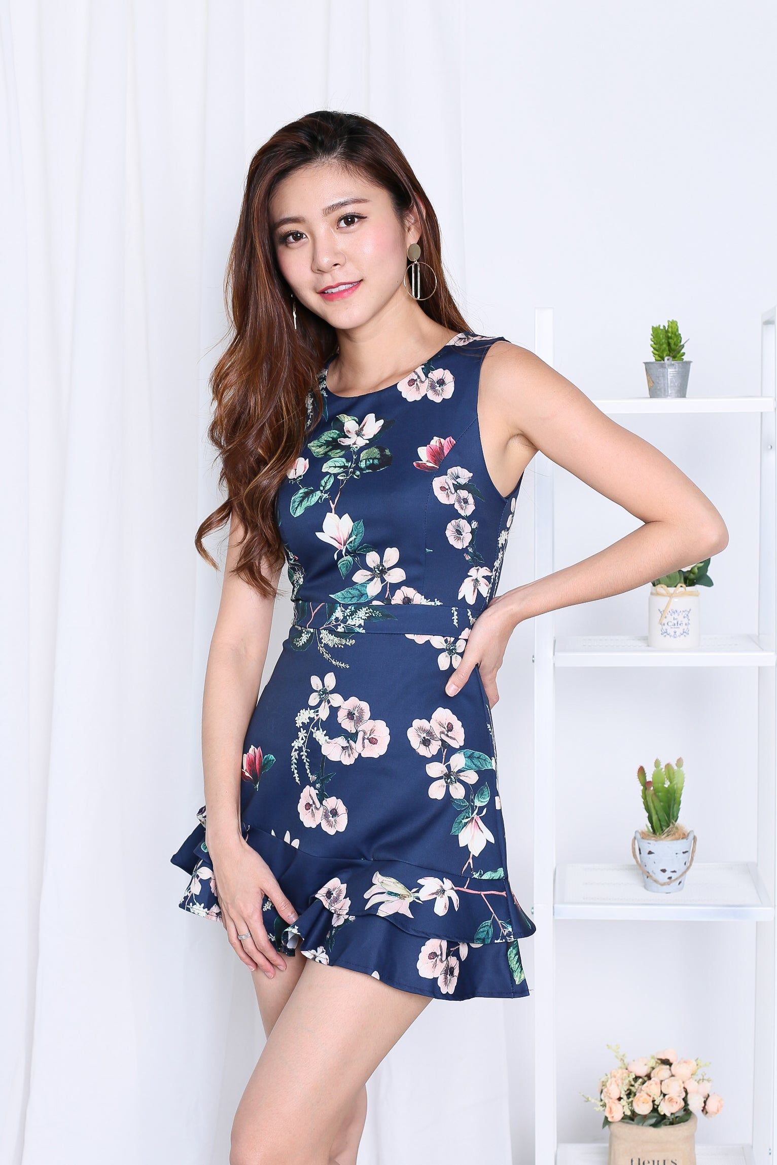 *TOPAZ* (PREMIUM) YEVA MERMAID DRESS ROMPER IN NAVY FLORALS