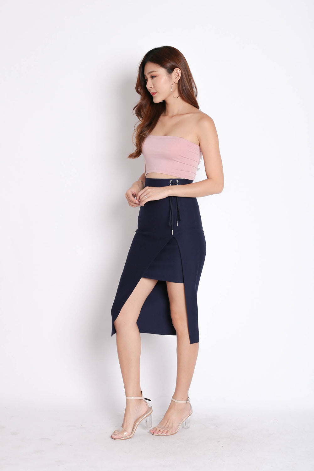 LACED UP BODYCON SKIRT IN NAVY - TOPAZETTE