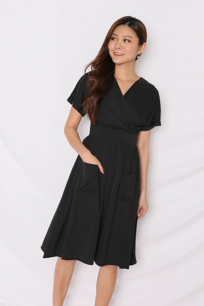*TPZ* (PREMIUM) GLADYS POCKET DRESS IN BLACK - TOPAZETTE