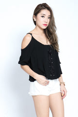 (RESTOCKED) #MADEBYTPZ SHOELACE COLD SHOULDER TOP IN BLACK - TOPAZETTE