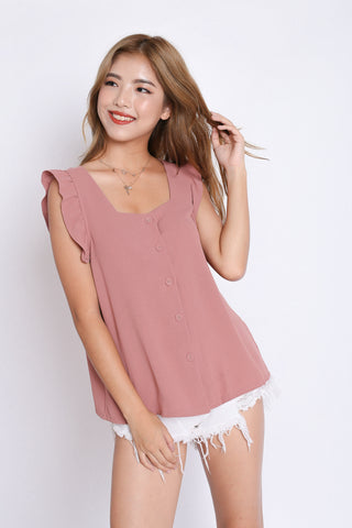 ALEXIS RUFFLES TOP IN DUSTY PINK