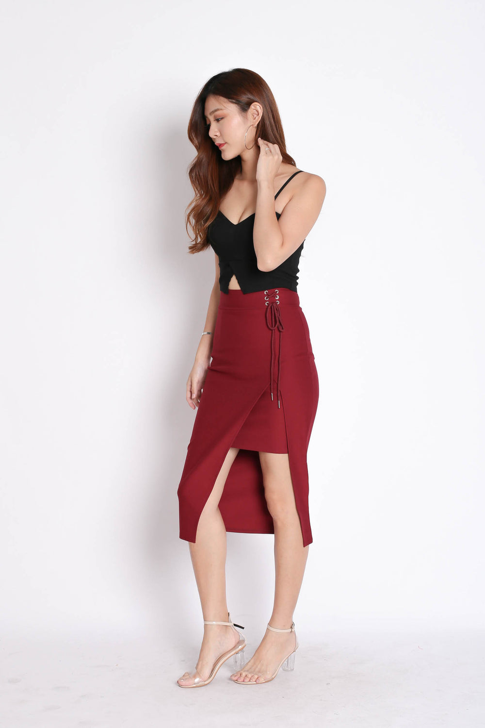 LACED UP BODYCON SKIRT IN BURGUNDY - TOPAZETTE
