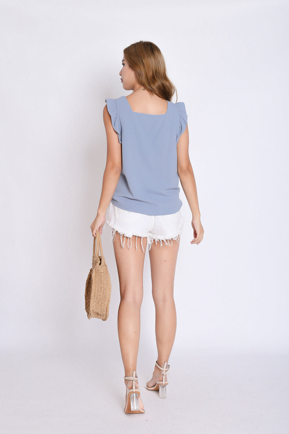 ALEXIS RUFFLES TOP IN DUSTY BLUE