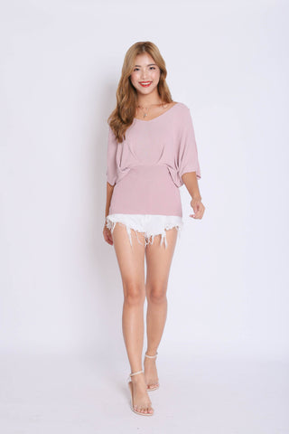 BASIC LOUNGE KNIT TOP IN DUSTY PINK