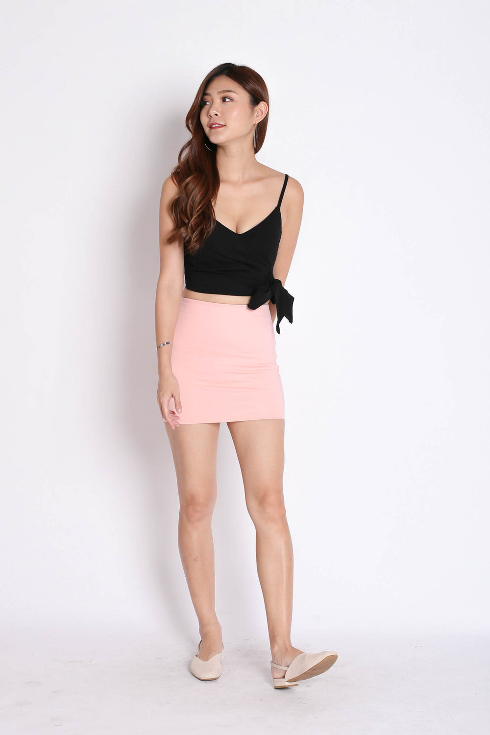 CLASSIC MINI BODYCON SKIRT IN PINK - TOPAZETTE