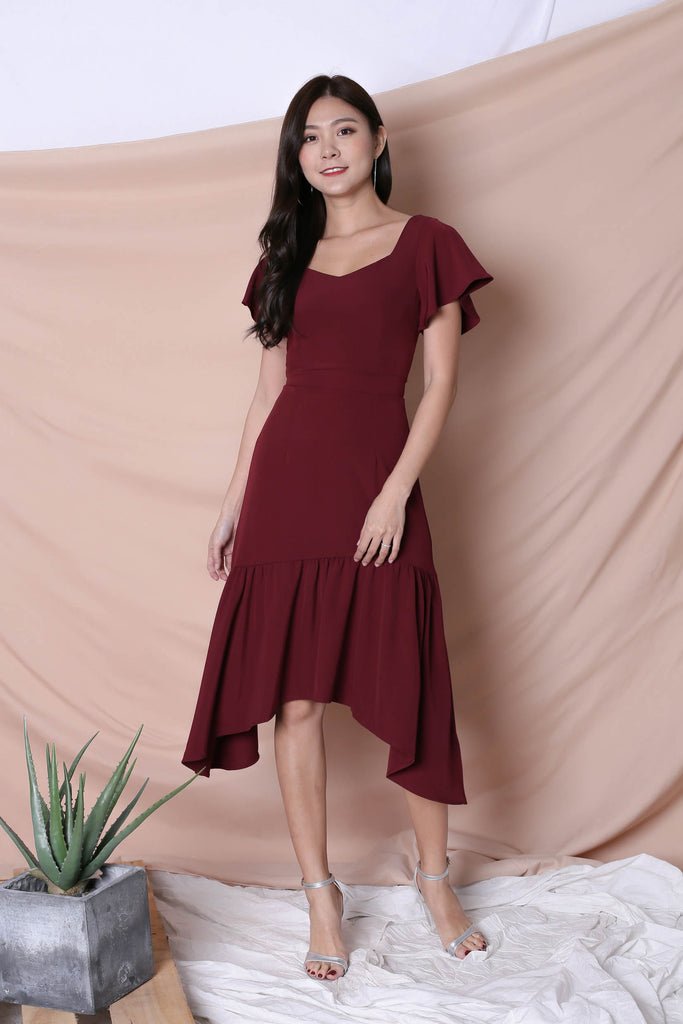 *TPZ* (PREMIUM) SARINA DRESS IN BURGUNDY