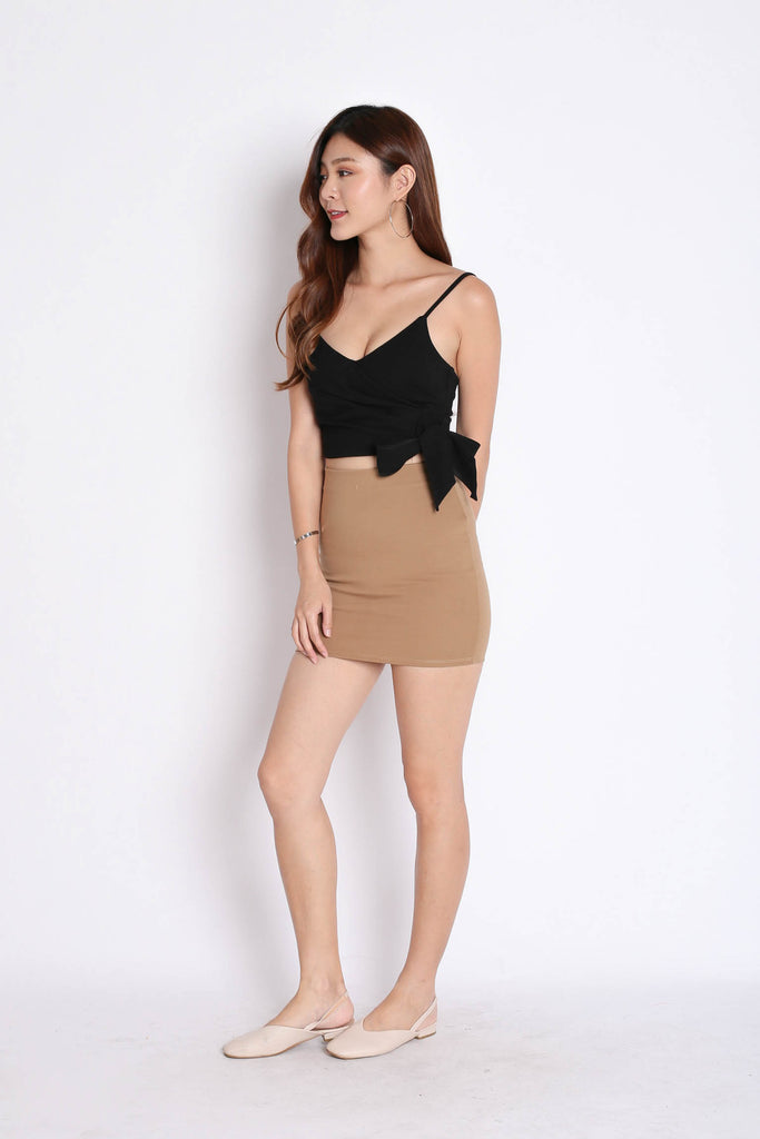 CLASSIC MINI BODYCON SKIRT IN TAUPE - TOPAZETTE