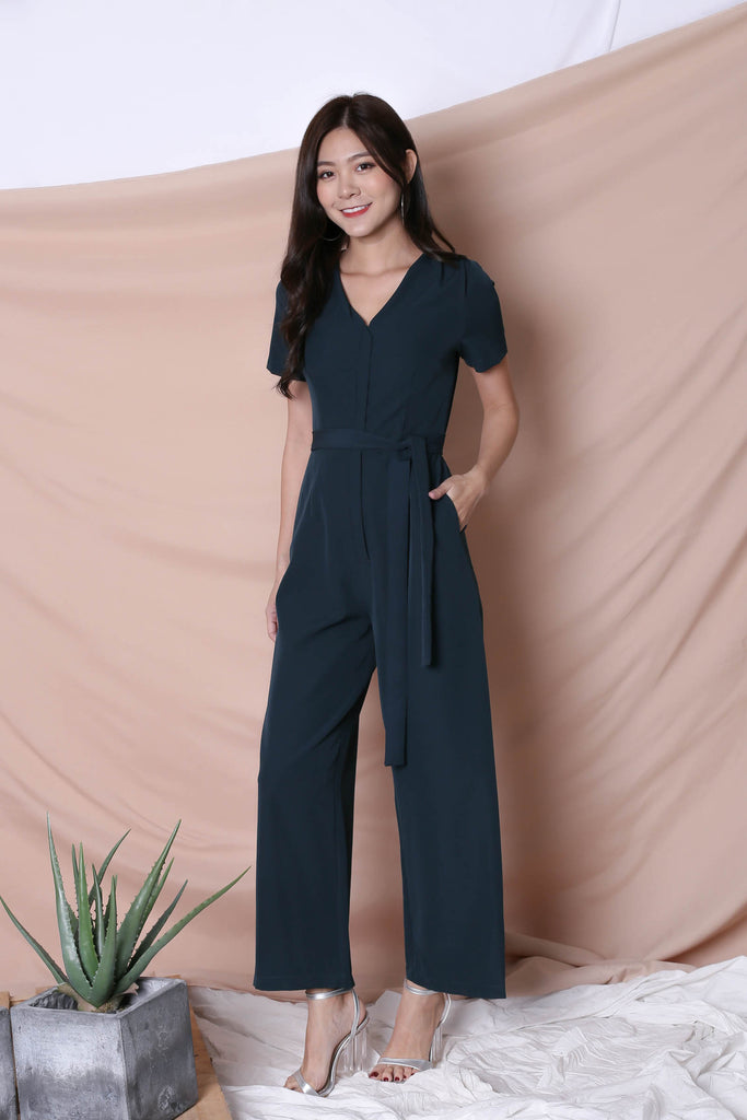 *TPZ* (PREMIUM) XANTHA FRONT ZIPPER JUMPSUIT IN FOREST