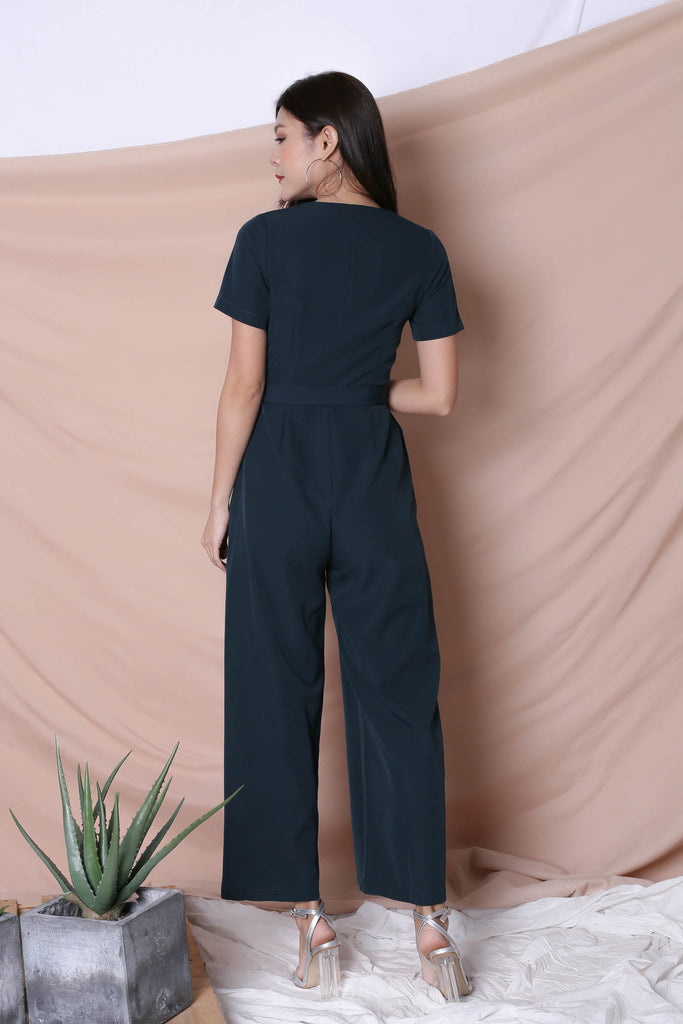 *TPZ* (PREMIUM) XANTHA FRONT ZIPPER JUMPSUIT IN FOREST - TOPAZETTE