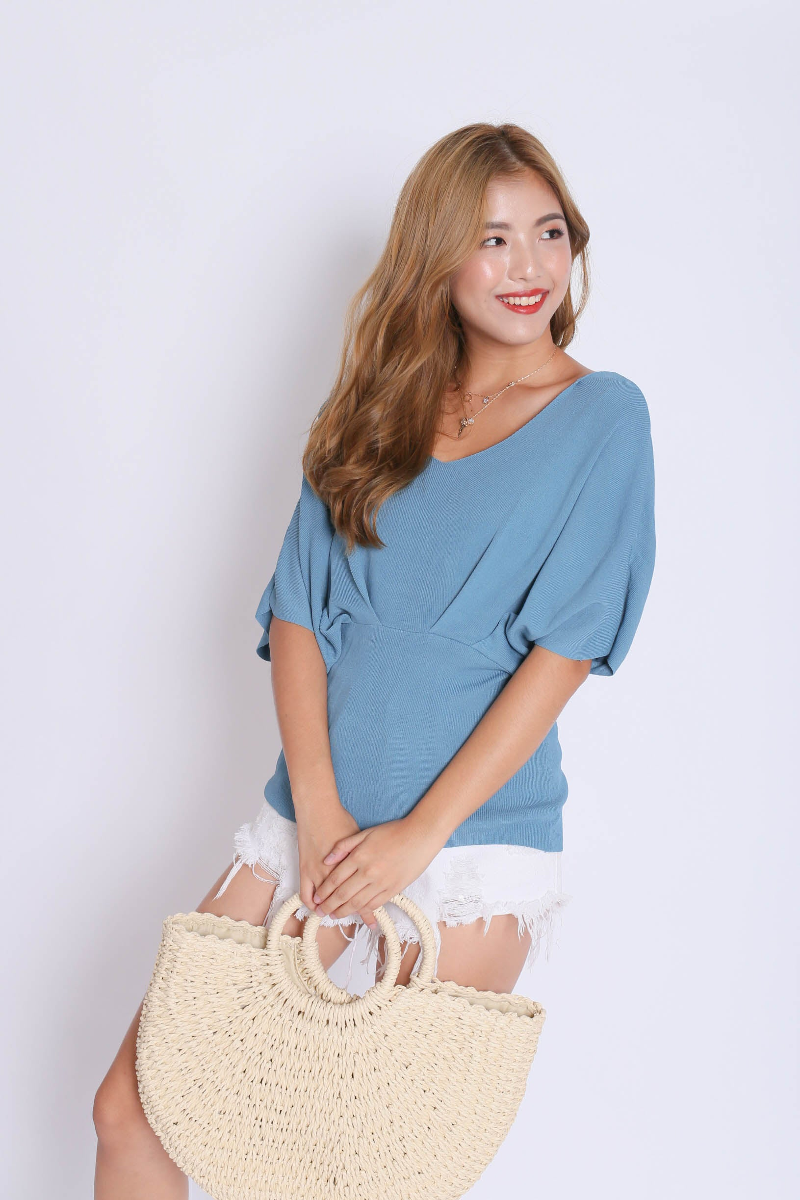 BASIC LOUNGE KNIT TOP IN STALE BLUE