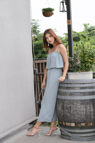PIERRE STRIPES 2 PC TOP AND CULOTTES SET IN DUSTY BLUE