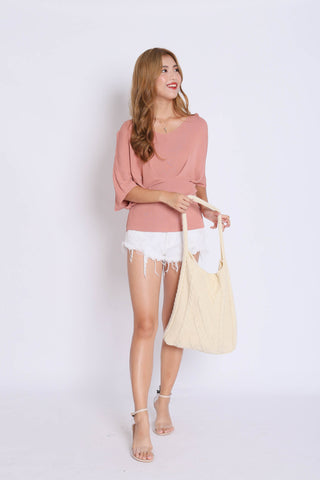 BASIC LOUNGE KNIT TOP IN CORAL PINK
