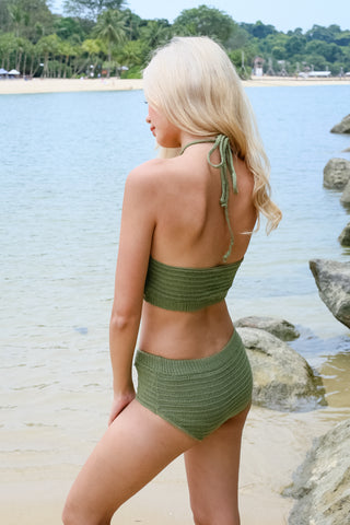 VENICE BEACH KNIT HALTER SET (ARMY GREEN)