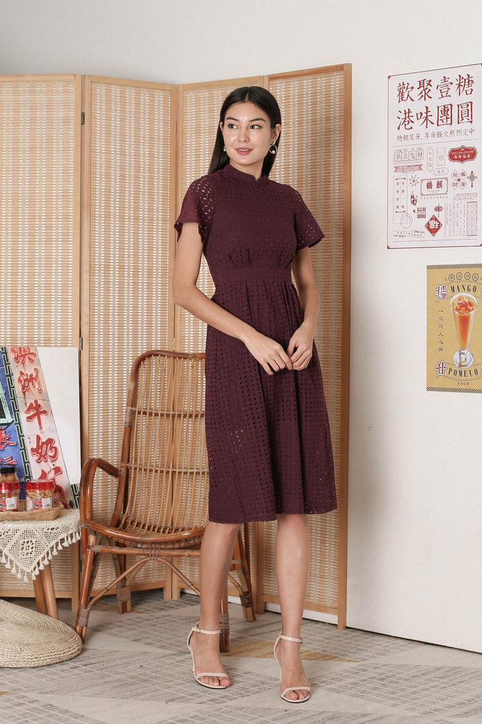 *TPZ* JINYU COLLARED EYELET DRESS IN PLUM