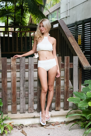VENICE BEACH KNIT HALTER SET (CREAM)