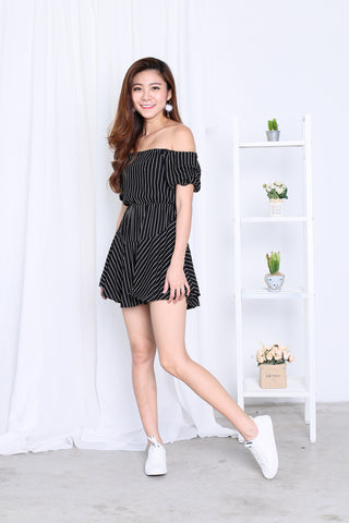(RESTOCKED) *TOPAZ* (PREMIUM) OFF DUTY STRIPES DRESS ROMPER IN BLACK