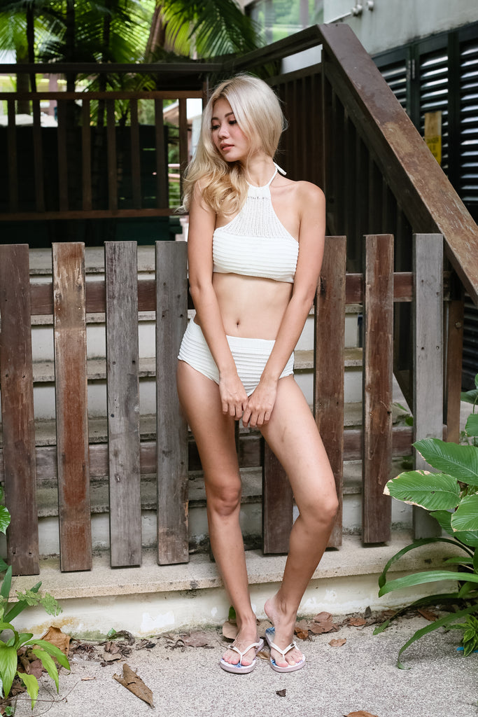 VENICE BEACH KNIT HALTER SET (CREAM) - TOPAZETTE