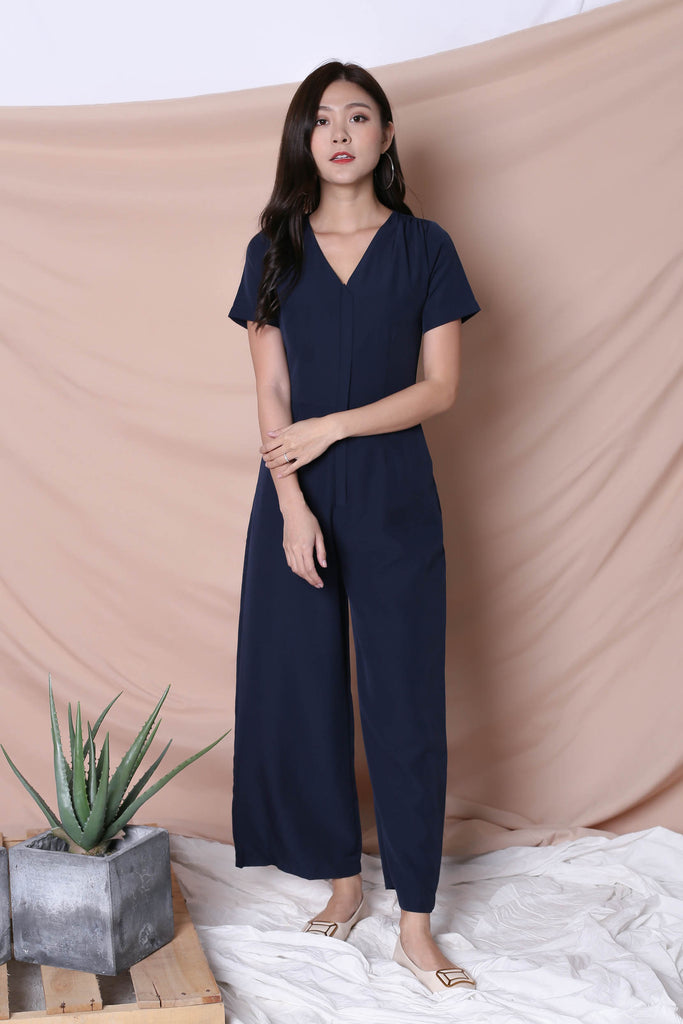 *TPZ* (PREMIUM) XANTHA FRONT ZIPPER JUMPSUIT IN NAVY