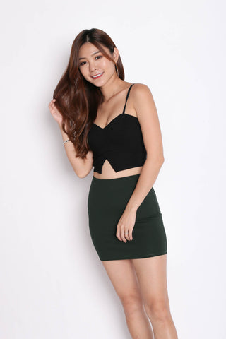 CLASSIC MINI BODYCON SKIRT IN FOREST