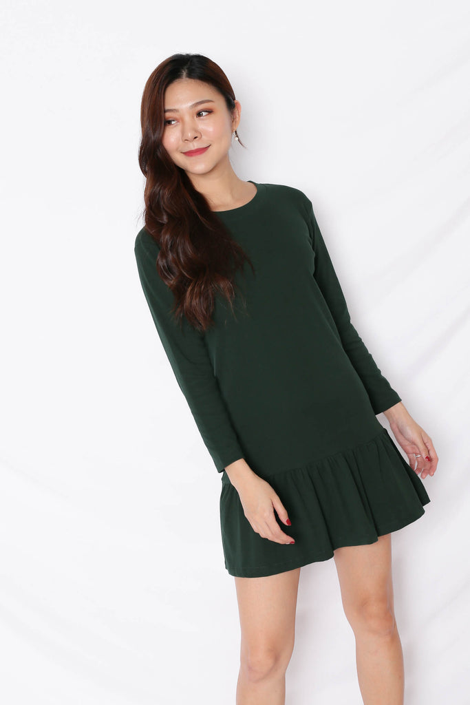 *BACKORDER* BASIC COTTON DROP WAIST DRESS (LONG SLEEVES) IN FOREST - TOPAZETTE