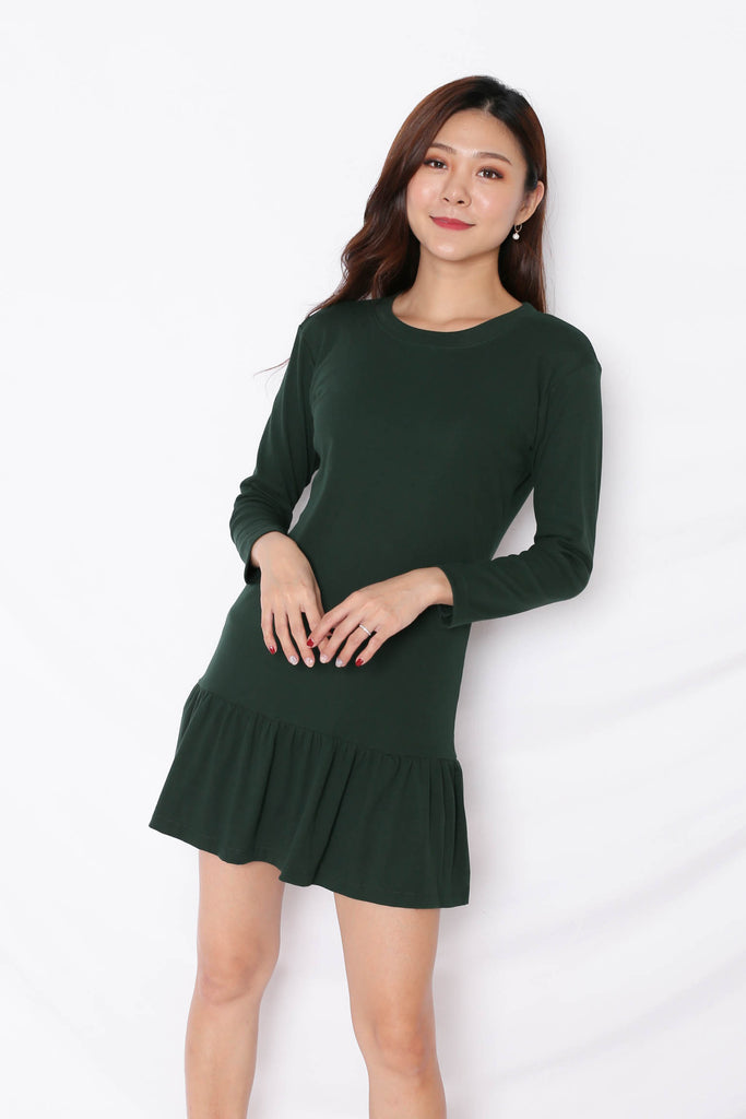 *BACKORDER* BASIC COTTON DROP WAIST DRESS (LONG SLEEVES) IN FOREST