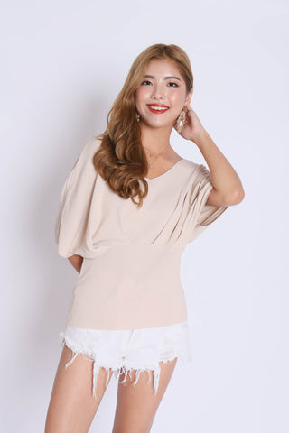 BASIC LOUNGE KNIT TOP IN NUDE
