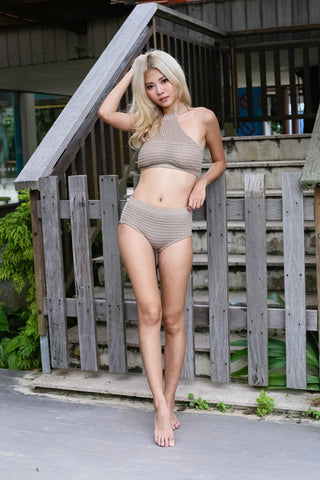 VENICE BEACH KNIT HALTER SET (TAUPE)