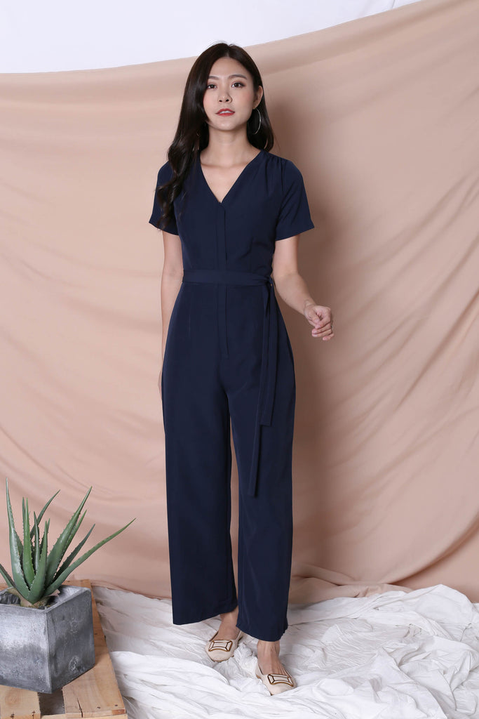 *TPZ* (PREMIUM) XANTHA FRONT ZIPPER JUMPSUIT IN NAVY - TOPAZETTE