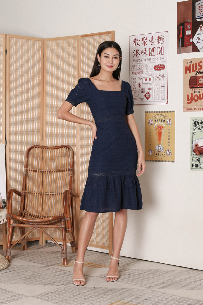 *TPZ* POLLY SQUARE NECK EYELET DRESS IN NAVY