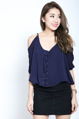 (RESTOCKED) #MADEBYTPZ SHOELACE COLD SHOULDER TOP IN NAVY - TOPAZETTE