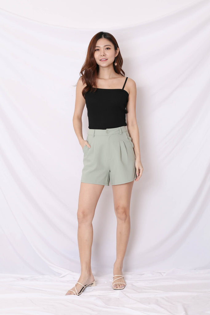 *TPZ* (PREMIUM) BREDA EVERY DAY HIGH WAISTED SHORTS IN SAGE GREEN