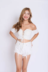 BUSTIER OFF SHOULDER CROP TOP IN WHITE