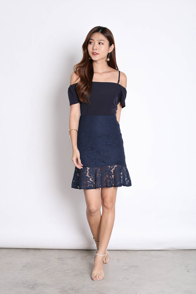 *TPZ* (PREMIUM) YVETTA LACE DRESS IN NAVY - TOPAZETTE