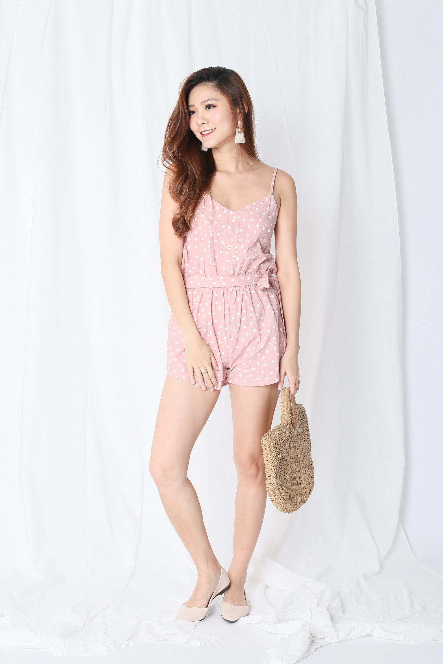 ABBY POLKA DOT ROMPER IN BABY PINK