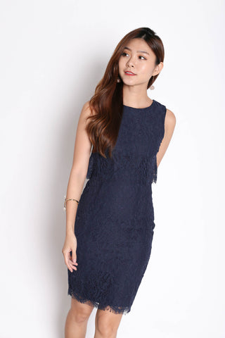 *TPZ* (PREMIUM) RELLA LACE TIERED DRESS IN NAVY