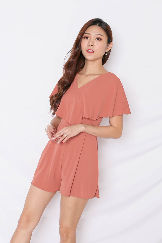 *TPZ* (PREMIUM) ELENA ROMPER IN TEA ROSE - TOPAZETTE