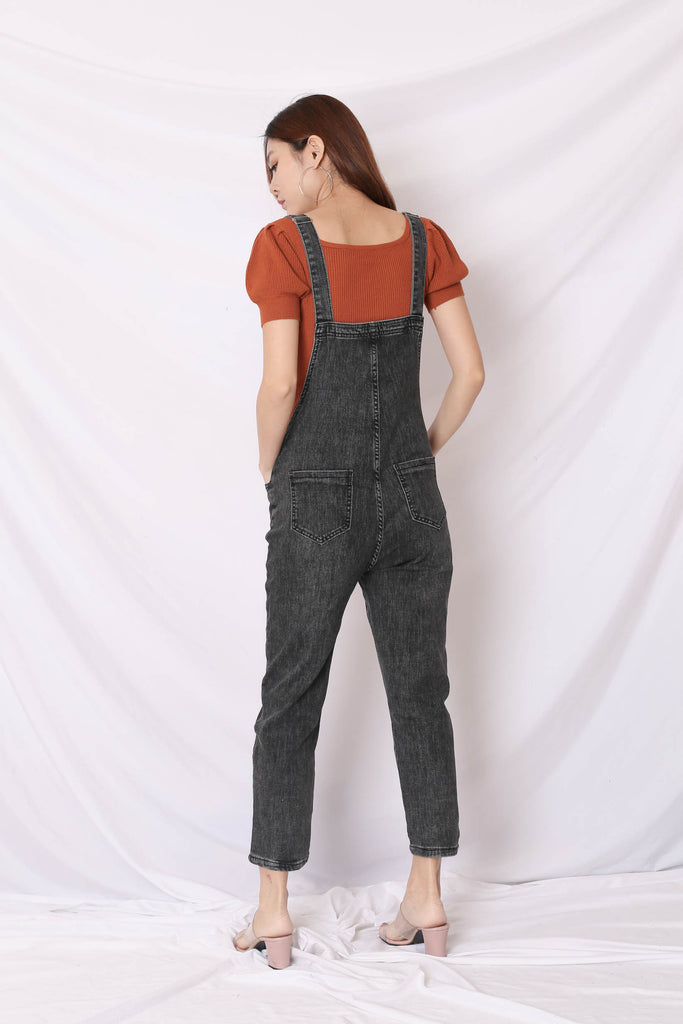 UNA DENIM DUNGAREE JUMPSUIT IN BLACK WASH