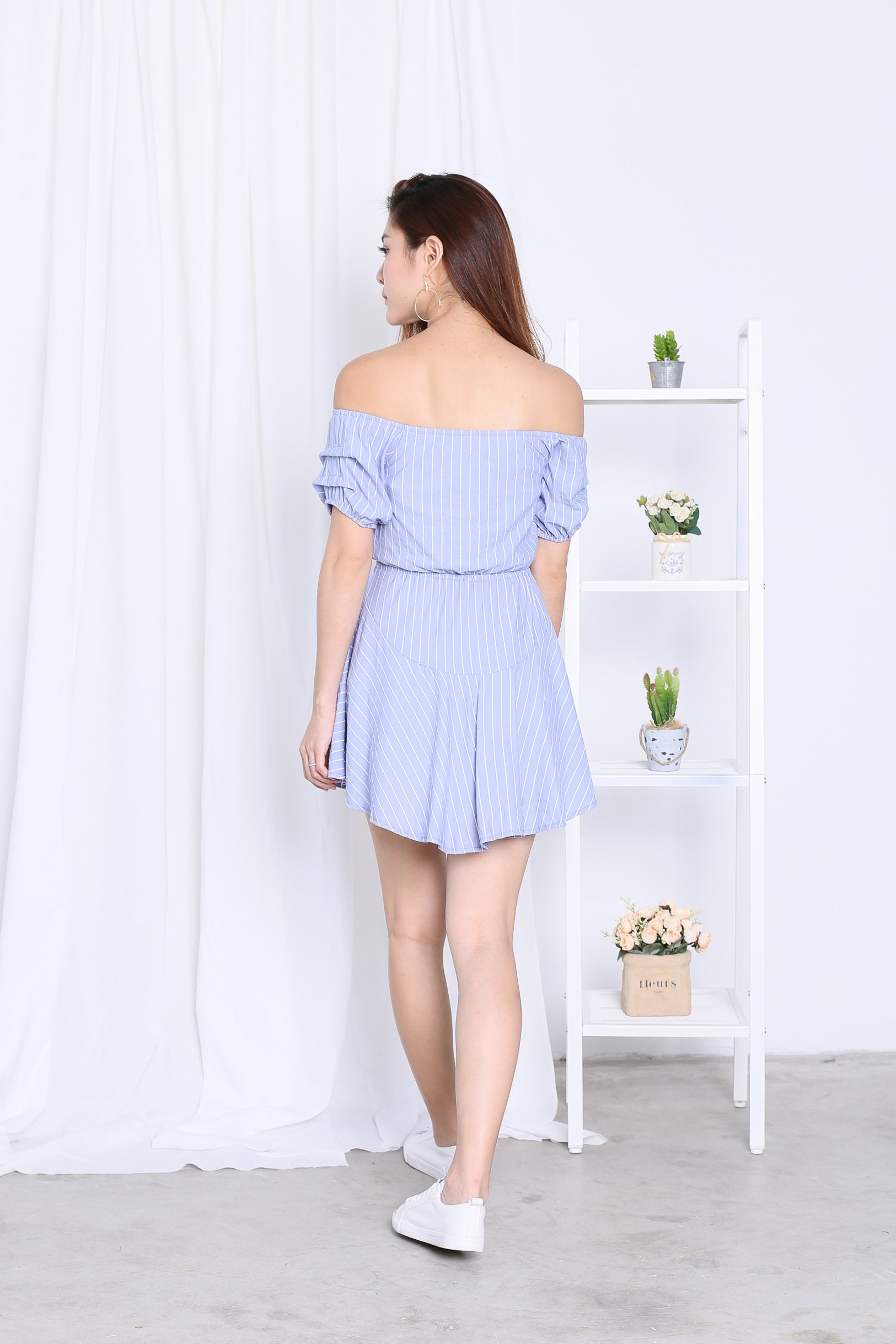 *TOPAZ* (PREMIUM) OFF DUTY STRIPES DRESS ROMPER IN PERIWINKLE BLUE